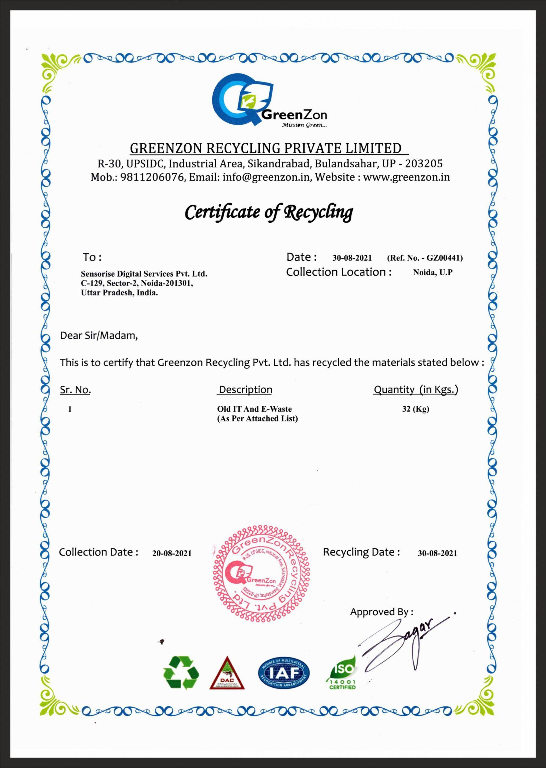 Sensorise recycling initiatives